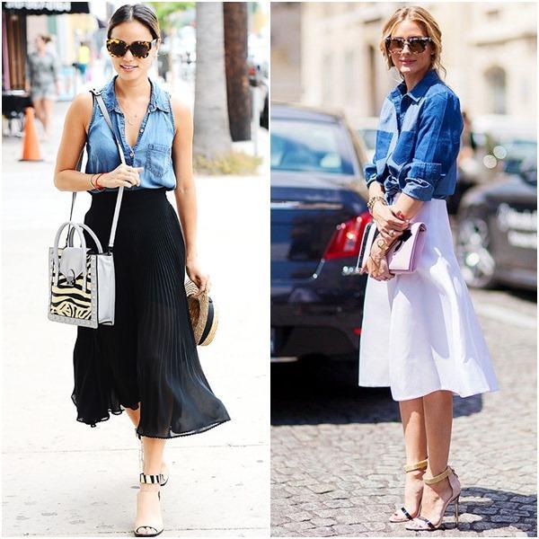 falda midi con blusa jean
