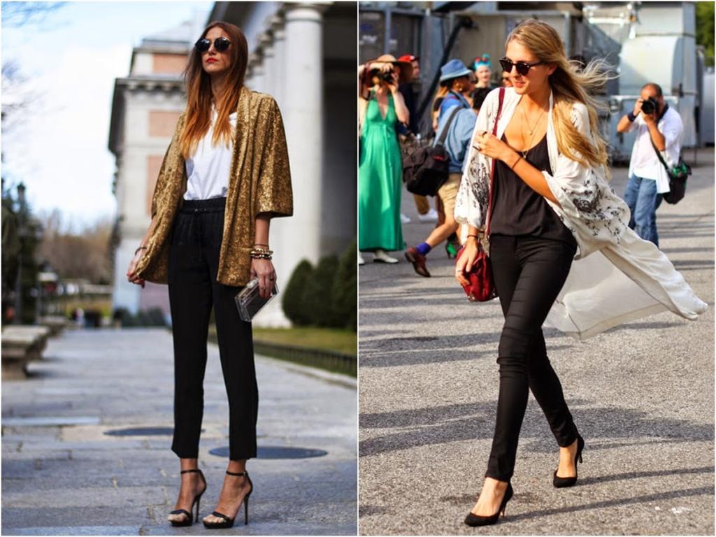 pantalón negro con kimono