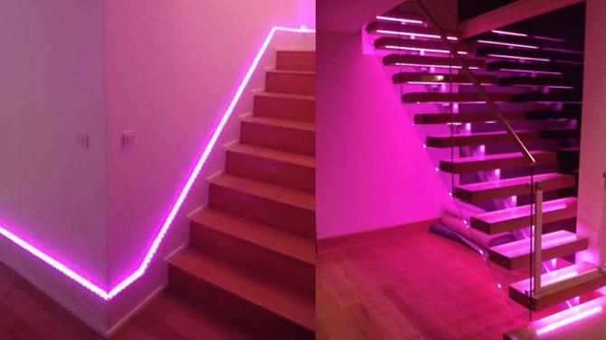 Escaleras y pasillos con iluminación led en cinta.