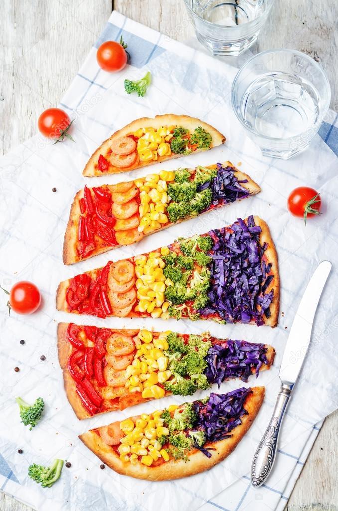 Pizza vegetariana arcoiris