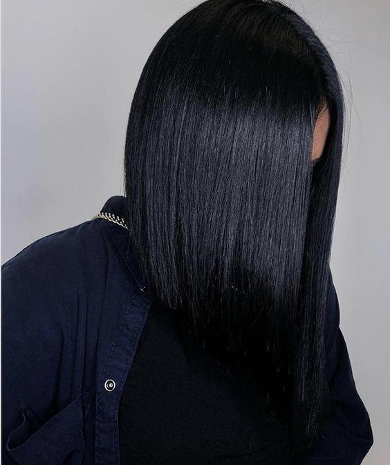 inky black tendencias de cabello
