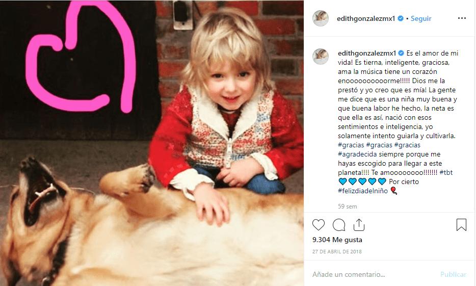 Carta de Edith González en Instagram